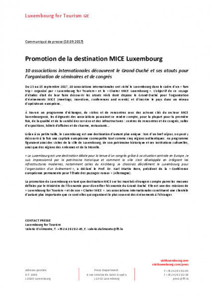 Promotion de la destination MICE Luxembourg