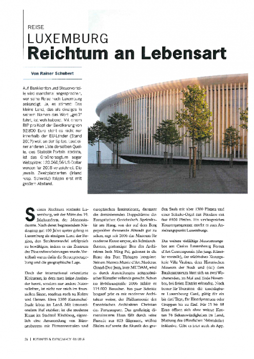 Luxemburg Reichtum an Lebensart   Business & Diplomacy