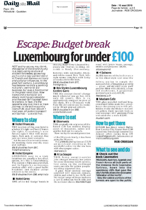 Escape-budget break   Daily Mail